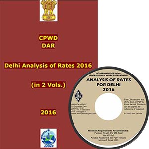 COMBO Set - 2016 CPWD DAR   CD : Delhi Analysis of Rates (in 2 Vols.) With Correction Slip No. 1, 2, 3 & 4(Set of Books   CD of e-book in MS-Word & PDF format)